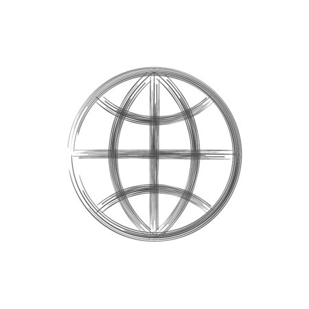 Globe hand drawn earth on white background. World in doodles style. Environment doodle design for earth day. Stock vector illustration isolated on white background.
