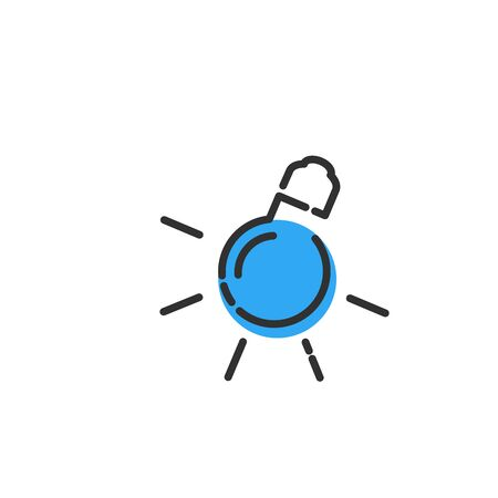 Idea icon, light bulb with rays and blue blob, linear simple trendy icon.