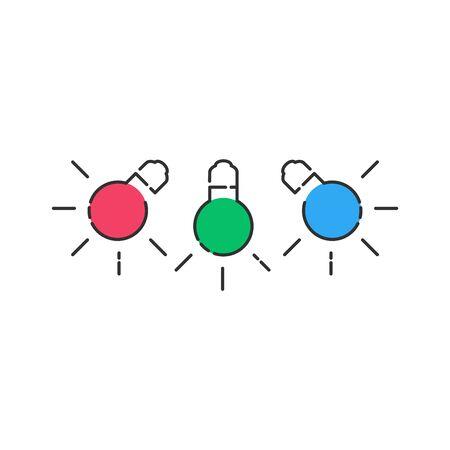 RGB light bulbs lamp icon. Linear light bulbs with color blobs.