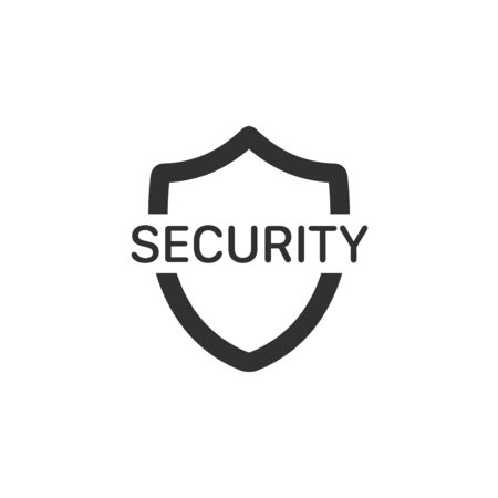 Shield with security word icon, safety security symbol. privacy protection.