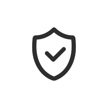 Shield with check mark icon, safety security symbol. privacy protection