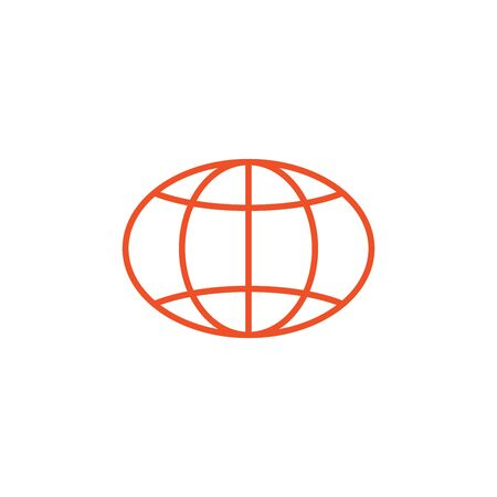 Globe outline icon. Linear World or internet symbol. Stock vector illustration isolated