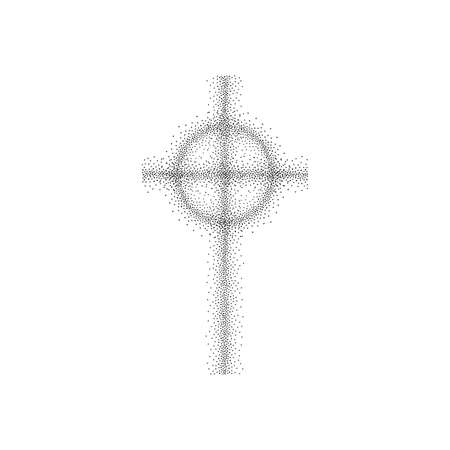 Dotted christian cross on white 向量圖像