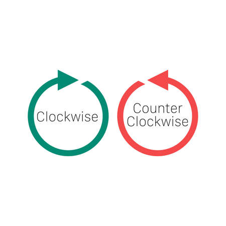 Rotate clockwise and rotate counterclockwise arrows. Stock vector illustration isolated on white background.