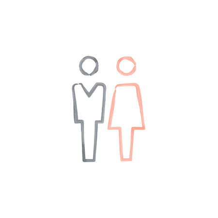 Male and female watercolor icon thin line for web and mobile, modern minimalistic flat design. Stock vector illustration isolated on white background.