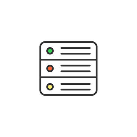 Vector server icon. Data center, hosting concept. Premium quality graphic design. Stock vector illustration isolated on white background.