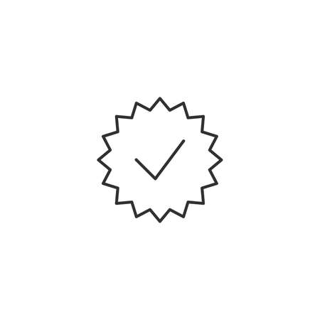 Check list button icon. Check mark in round zigzag sign. Stock vector illustration isolated on white background.
