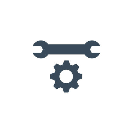 Service icon. Simple wrench and gear icon. Stock vector illustration isolated on white background.