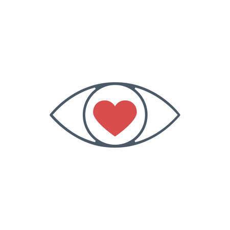 Eye with a heart icon. Love look. Stock vector illustration isolated on white background.