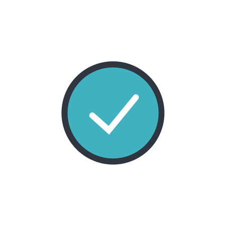 Circle tick mark approved Icon Vector Illustration. Checkmark confirm circle icon button flat for apps and websites symbol, icon checkmark choice, checkbox button for choose.  イラスト・ベクター素材