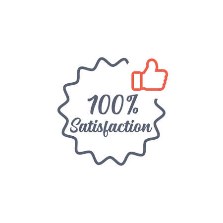 Hundred percent Satisfaction thumb up wavy border sticker, tag, label, sign, icon. Stock vector illustration isolated on white background.