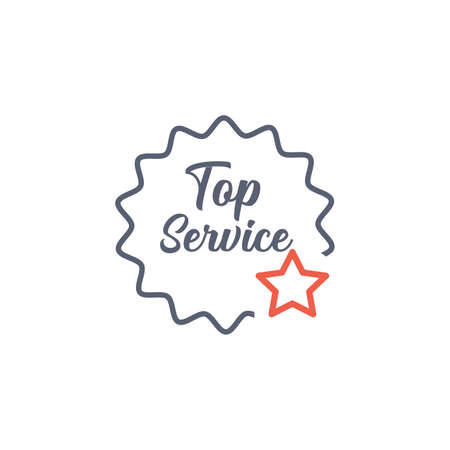 top service badge with star. Quality Assurance and Quality Control Concept, Best Service Label. Stock vector illustration isolated on white background.