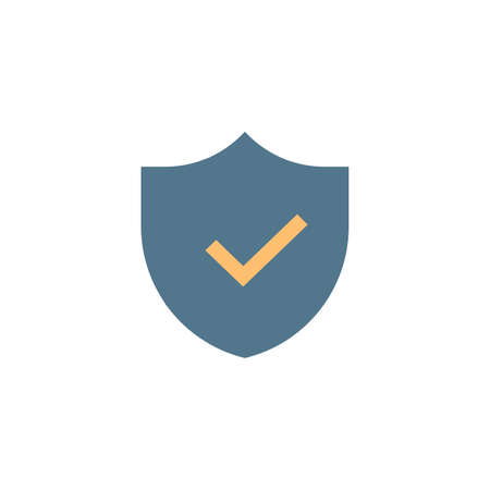Shield and Check Mark Icon Vector Template. Security or protection symbol for web site Computer and mobile apps, ui. Stock vector illustration isolated on white background.