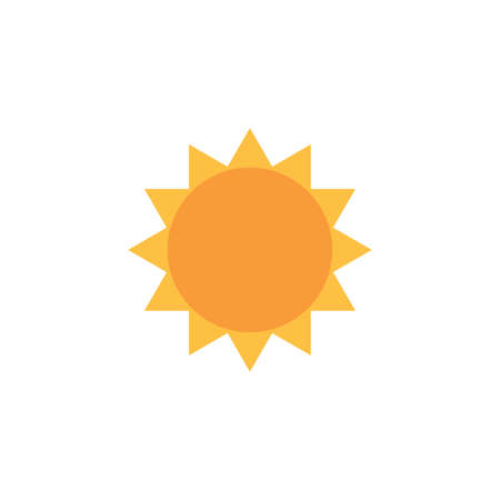 Sun Icon, sunshine yellow vector illustration. summer concept. Stock vector illustration isolated on white background.