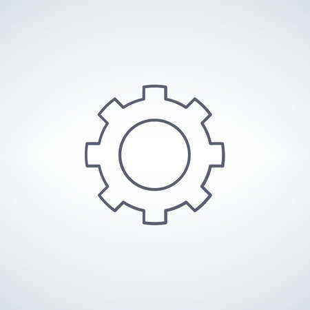 Gear, linear icon. engineering mechanical cogwheel icon. Stock vector illustration isolated on white background.