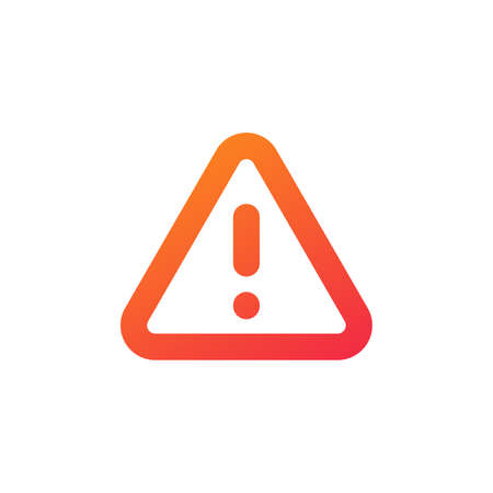 Red Danger hazard attentioon warning sign with exclamation mark. Stock vector illustration isolated on white background.