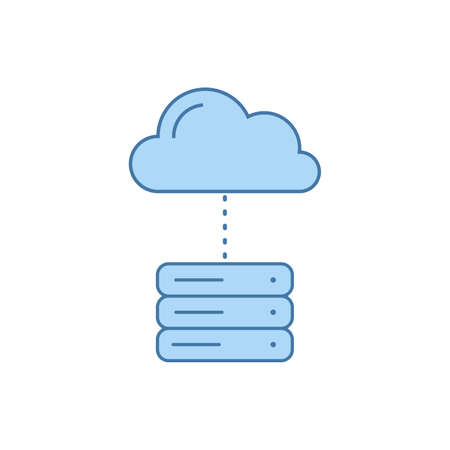Servers and Clouds. Cloud Computing Concept. Stock vector illustration isolated on white background.