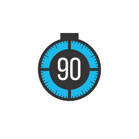 90 minutes timer, stopwatch or countdown icon. Time measure. Chronometr icon. Stock Vector illustration isolated on white background. Ilustração