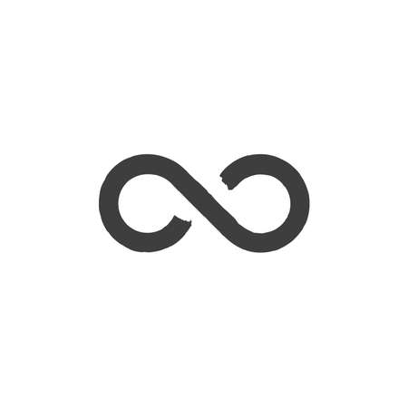 The infinity icon. Brush drawn Infinity symbol. Flat endless concept. Stock vector illustration isolated on white background.  イラスト・ベクター素材