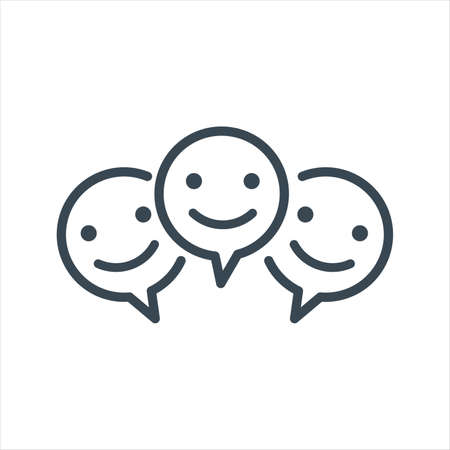 Three Smile faces inside chat bubble sign icon. Happy smiley chat symbol. Stock vector illustration isolated on white background.