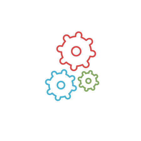 Color isolated outline icon of three cogwheels on white background. Line icon of gear wheel. Settings icon.