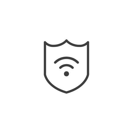 Protection wifi. Private network. Shield with wi-fi symbol. VPN - virtual private network icon. Vector shield icon. Security vector icon. Protection icon. Protection activated. Active safety. Firewall  イラスト・ベクター素材