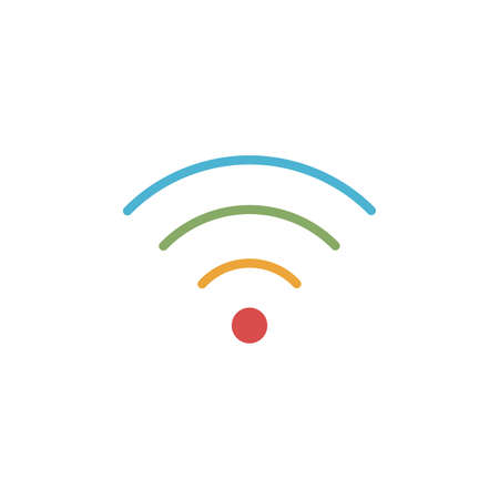 wifi,  wireless internet color rounded stripes, oriented upward symbol. wifi signal level by color. Stock vector illustration isolated on white background.