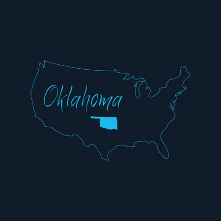 Oklahoma state highlighted on United States of America map , USA infographics template. Stock vector illustration isolated on blue background.