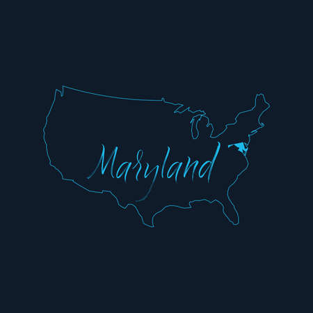 Maryland state highlighted on United States of America map , USA infographics template. Stock vector illustration isolated on blue background.