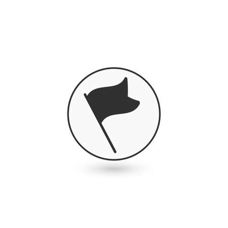 line flag Icon, gps road map marker. spot or target pin. Stock Vector illustration isolated on white background.