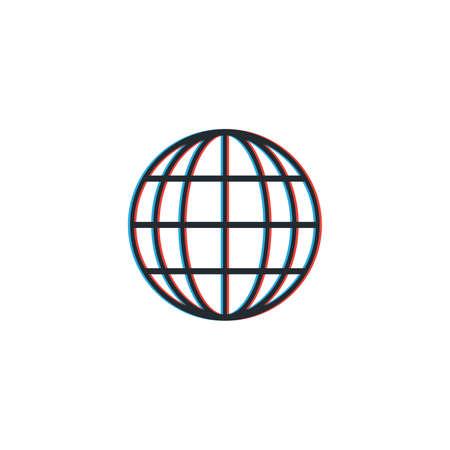 Color shift globe. optic illusion. Stock Vector illustration isolated on white background.