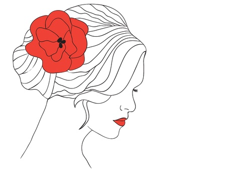 Woman with red poppy in hair and with red lips - vector illustration Illustration
