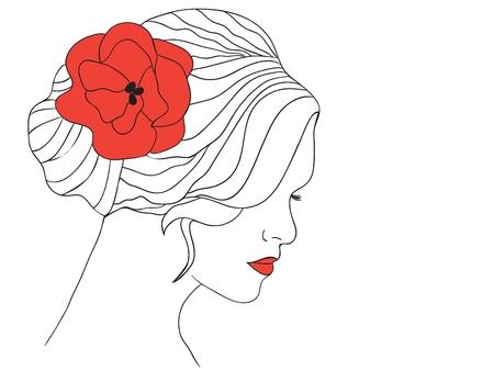Vrouw met rode papaver in haar en met rode lippen - vector illustratie