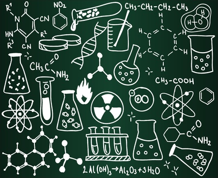 science icons: Chemistry icons and formulas on the school board Illustration