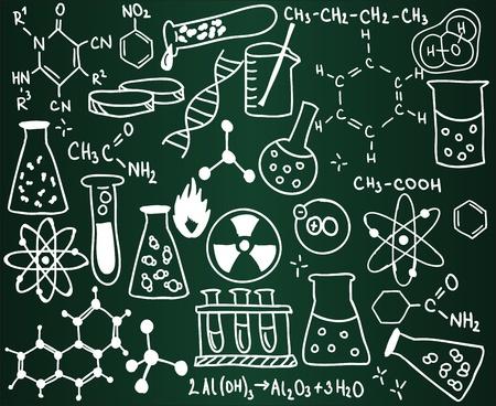 qu�mica: Los iconos de la qu�mica y las f�rmulas en la Junta Escolar