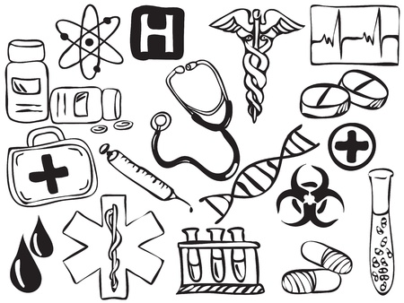 dna graph: Medical and pharmacy icons drawing - illustration Illustration