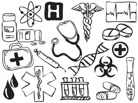 syringe injection: Medical and pharmacy icons drawing - illustration Illustration