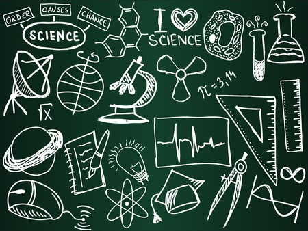 chalk board: Scientific icons and formulas on the school board - illustration