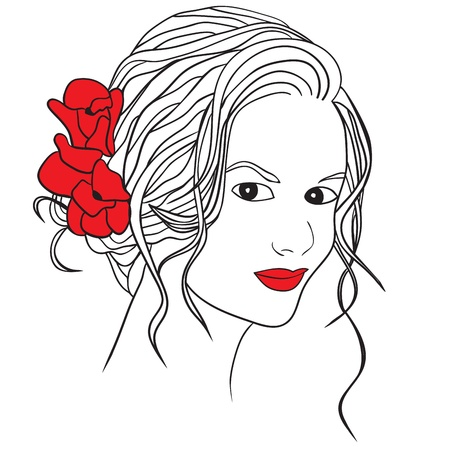 sensuality: Woman with flowers in hair - vector illustration
