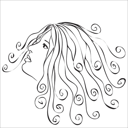 Woman with swirls hair - abstract illustration Vector