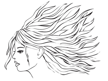 Beauty woman with long hair Stock Vector - 12008947