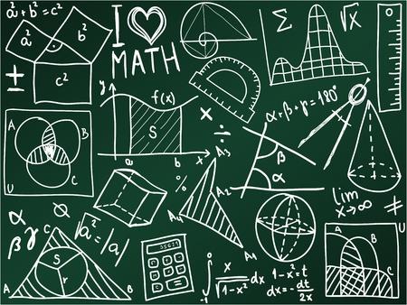 simbolos matematicos: Matem�ticas iconos y f�rmulas en el consejo escolar - ilustraci�n Vectores