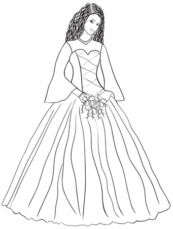 Woman in wedding dress - abstract vector illustration Vector
