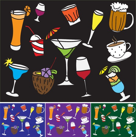 drinks and coctails - colored pattern and background Vector