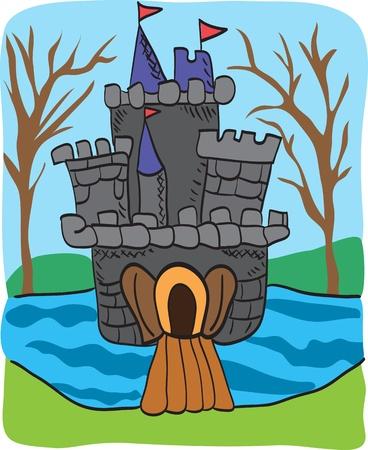 Fairy tale castle doodle - colorful cartoon sketch