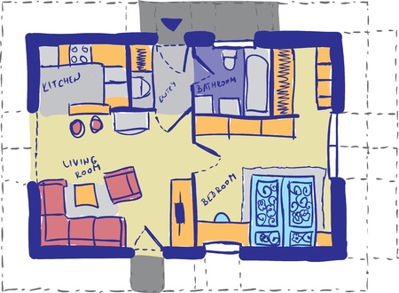 furniture detail: House plan doodle  - architectural background drawing