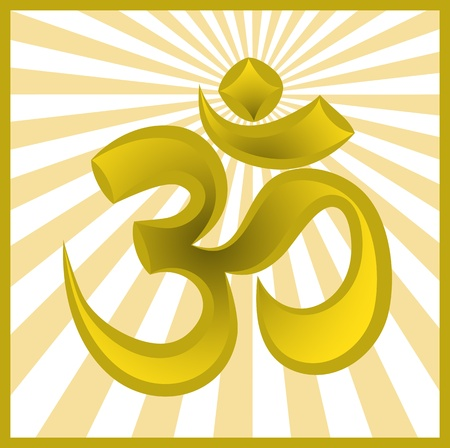 golden symbol om on sun burst background