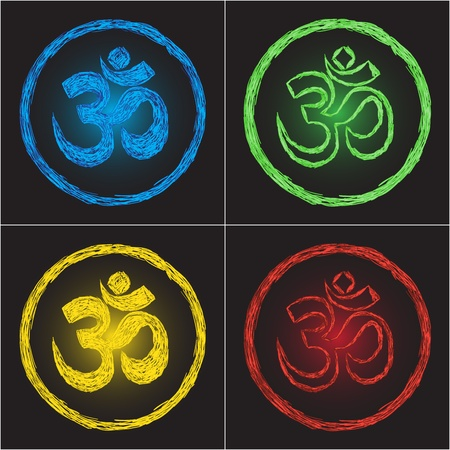 religion symbol om on black background - doodle Vector