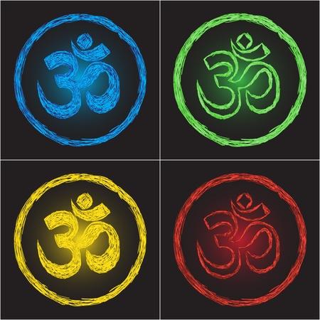 om: religion symbol om on black background - doodle