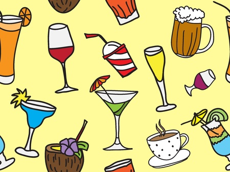 glass cup: drinks and coctails - colored seamless pattern and background